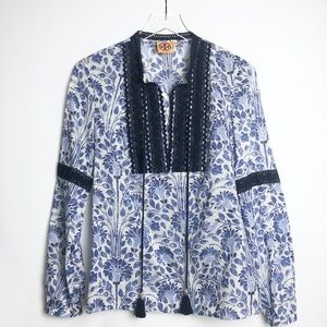Tory Burch | Blue & White Floral Tunic Top  Size 6